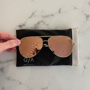 QUAY Desi Perkins Rose Gold high key sunglasses